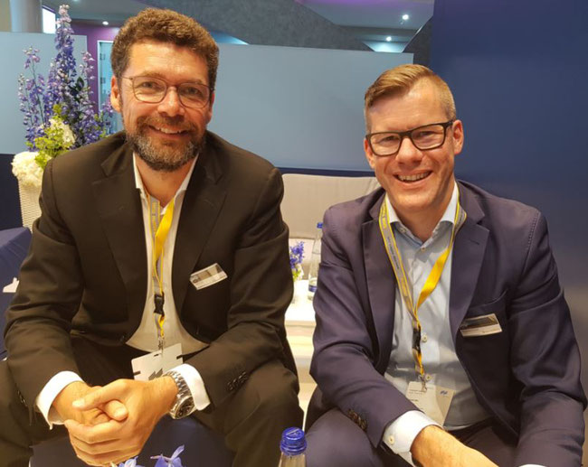 COO Lars Krosch (left) and CEO Alexander Kohnen represented time:matters GmbH at Air Cargo Europe – photo: hs