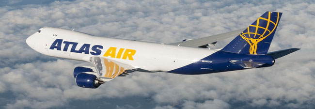 A leased Atlas Air B747-8F will fly transpac routes on behalf of Qantas Freight  - courtesy Atlas