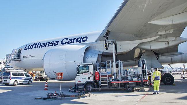 A Lufthansa Cargo B777F is fueled with SAF  -  photo courtesy DB Schenker