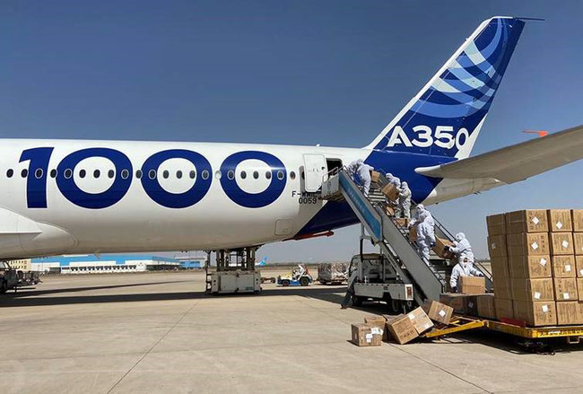 A350-1000 at loading masks in Tianjin, China  -  image courtesy of Airbus