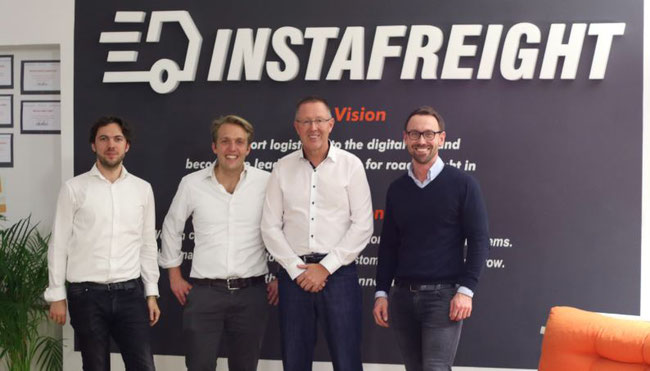InstaFreight managers (left to right): Markus Doetsch, CTO  /  Maximilian Schaefer, Co-Founder & MD  /  Dirk Reich, Chairman of the Board  /  Philipp Ortwein, Co-Founder & MD  -  company courtesy