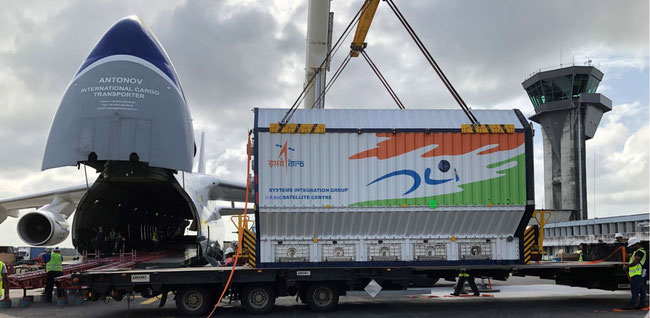 Loading of special container accommodating the Indian satellite  -  courtesy: Antonov