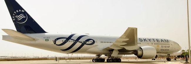 Saudia Boeing 777 displaying SkyTeam Logo  -  Courtesy SV