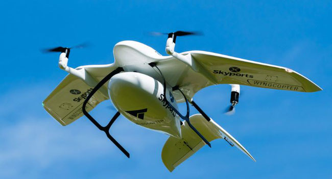 Wingcopter delivered the drone, while Skyports operated the test flights in Scotland  -  image courtesy of Skyports