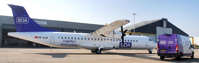 This BDA wet-leased ATR72-200 freighter will bear the name of  Carousel soon – courtesy Carousel