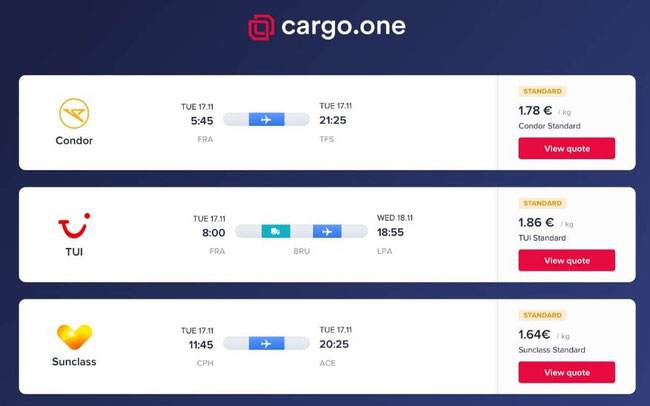 Three new customers on board cargo.one. Image: cargo.one
