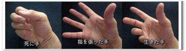 (注意)写真のモデルは小川の手ですので、形だけ真似しています。