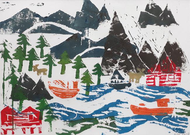 Linoldruck. Landschaft in Norwegen mit Rentieren, Hütten, Booten, Bäumen, Berge und Seen.