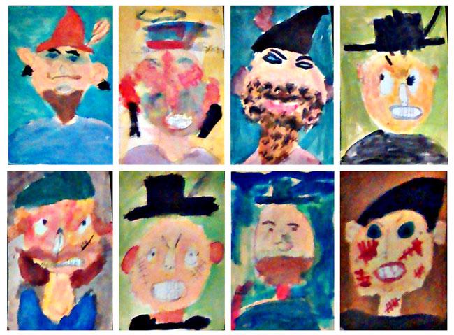 So sehen die Kinder ihren Räuber Hotzenplotz. Wasserfarben auf Papier.
