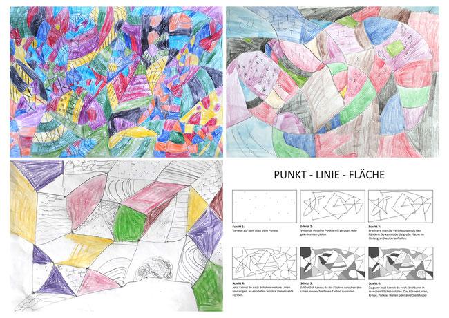 Abstraktes Bild. Bildaufbau vom Punkt, über die Linie zur Fläche.