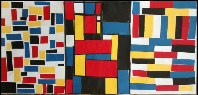 Farbfelder in den Grundfarben, Rot, Blau und Gelb. Tonpapier auf Fotokarton aufgeklebt.