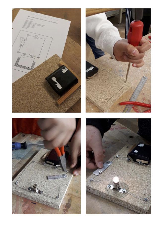 Stromkreis mit Schalter und Lämpchen.