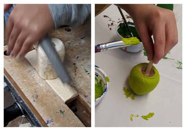 Rundungen werden mit der Raspel abgetragen. Die fertige Frucht wird zum Schluss bemalt.