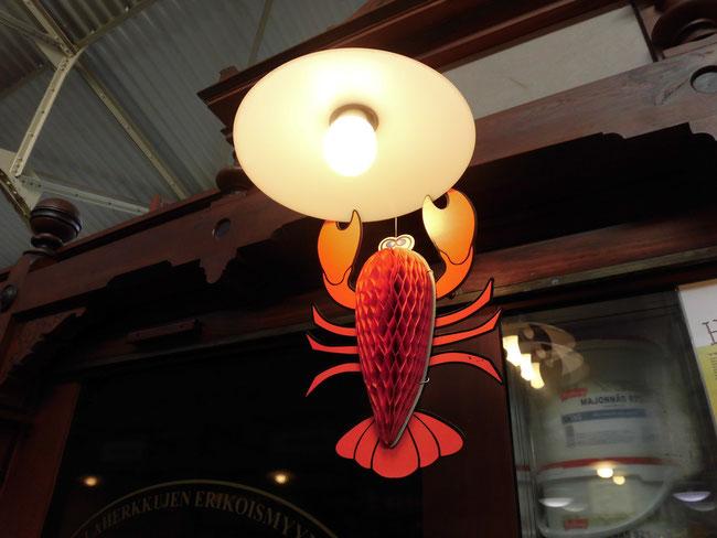 ストックホルムで見たザリガニ照明