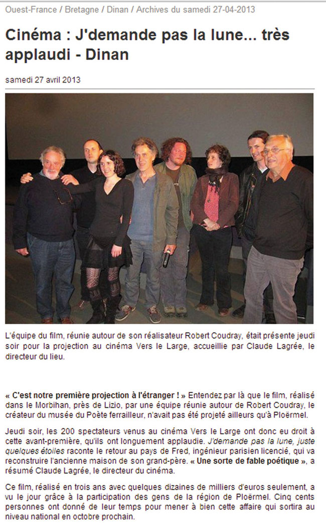 Ouest France _ 27 avril 2013