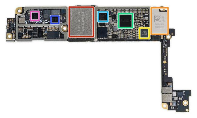 Das Board iPhone 7 Blick von unten