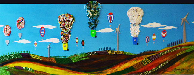 SAVE our EARTH / Recycle (plastic Cards, paper, glass, acrylic and oil) on wood / 72 x 33 inches.