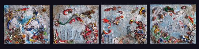 Ciudad Sumergida / Collage con reciclaje / 60.8 x 11.8 inches.