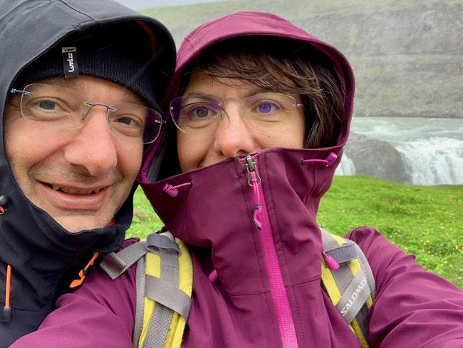 Selfie con mio marito a Gullfoss.