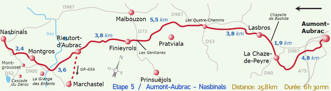 Etape 5)    Aumont-Aubrac  -  Nasbinals