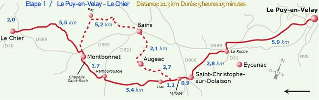 Etape 1)    Le Puy en Velay  -  Le Chier