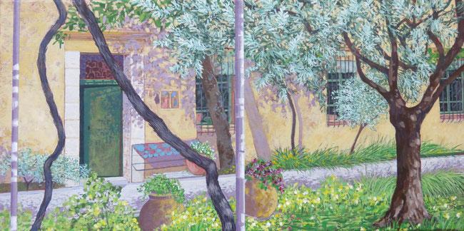 20X40cm - la terrasse, Vence - Acrylique sur toile - 2019