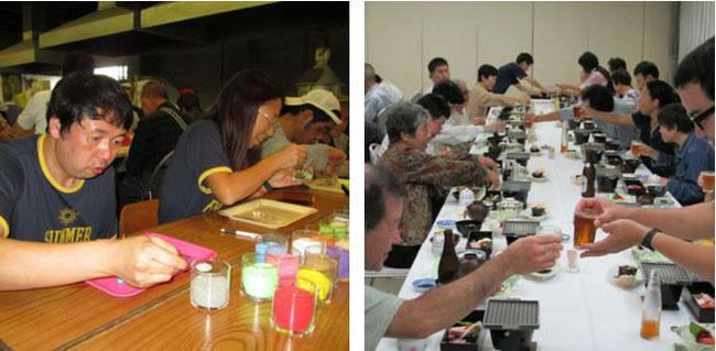 SUWAガラスの里でのオリジナルキャンドル作り と 宴会風景