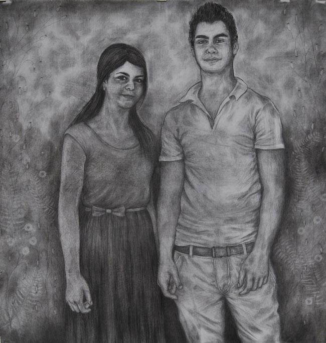 Jorien en Willem, 2014. Houtskool op papier, 150x150cm.