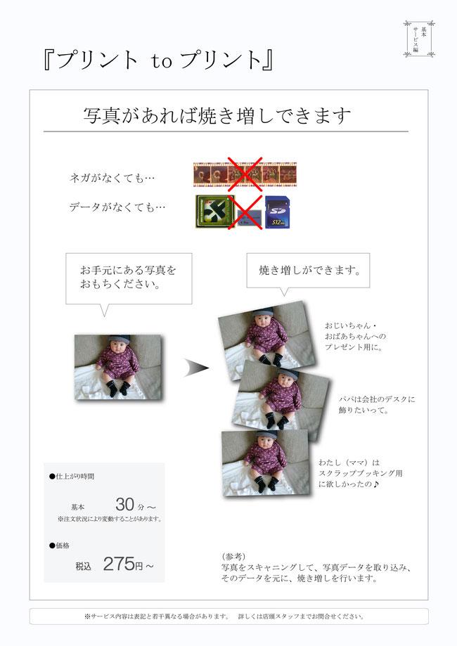 写真の複製 写真から写真プリント 写真修復 写真加工