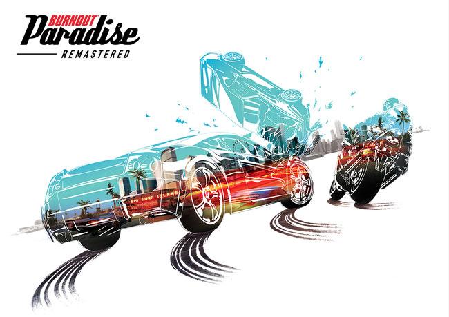 Burnout, Paradise, Paradise City, Remastered, Criterion, EA, Electronic Arts, Autos, Motorräder, Arcade, Stunt, Rennen, Open World, Marked Man, Showtime, Stuntrennen, Road Rage, Big Surf Island,