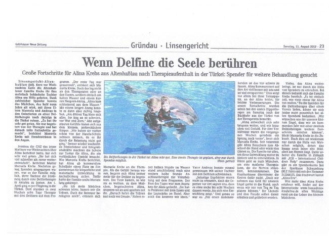 Bericht in der Gelnhäuser Neuen Zeitung vom 11.08.2012 zum vergrößern auf das Foto klicken