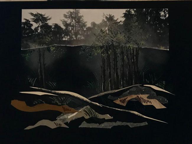 LA NUIT TOMBE - Collages et pastels sur fond de papier noir -