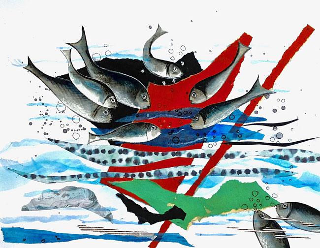 LA VALSE - Collages et crayons de couleur- 50 x 70cm- encadrement noir