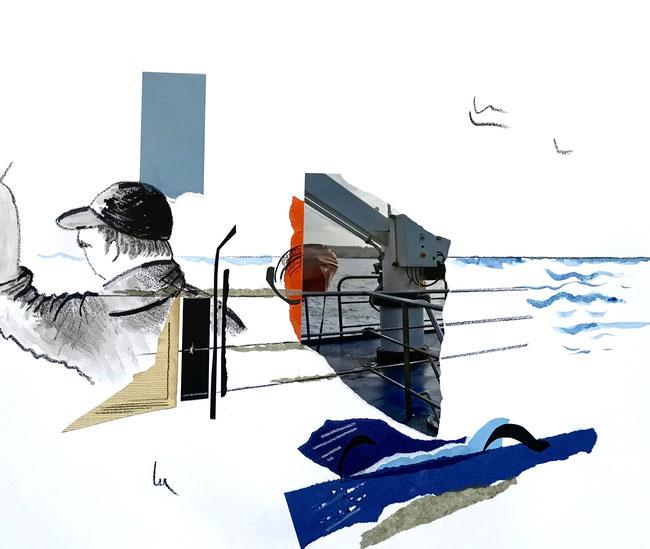 RETOUR DE PECHE - Collages et crayons de couleur - 40 X 50 cm- encadrement noir