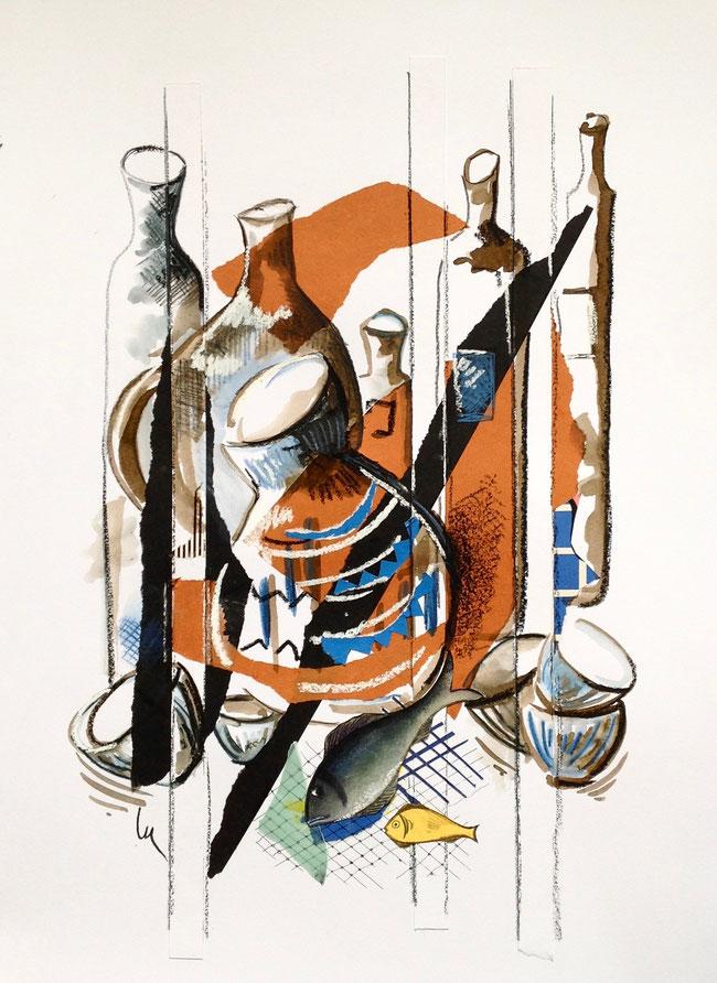 TERRES CUITES - Collages, pastels et encre de couleur- 50 X 70cm - encadrement noir-