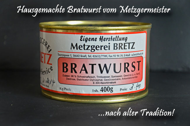 Hausgemachte Bratwurst vom Landmetzger