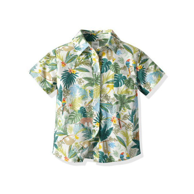 kiskissing wholesale hawaiian style kid boy summer casual holiday printed shirt