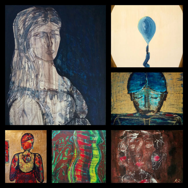 """Collage """"Women of the world"""" / """"Frauen dieser Welt"""", Nicole Kraebber - Maria I; Maria ll; Wachstum; My Mother and I; Trauer,  Schmerz und Leidenschaft"""