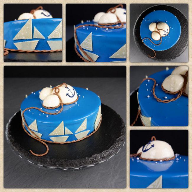 Waldbeer Mascarpone Sahne mit blauem Mirror Glaze, Babybauch und Maritimen Design