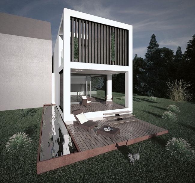 Mit «Smartcube» smarte und intelligente Nachverdichtung erzielen: Beispiel eines Kleinhauses.