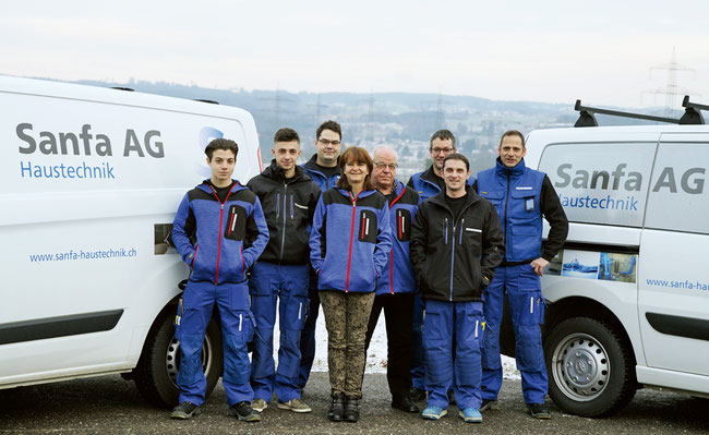 Die Sanfa AG Haustechnik Crew mit Alexander Truog (3. v.l.)