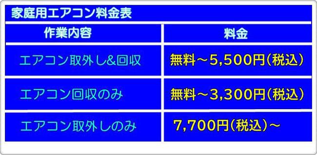家庭用エアコン料金表(税込) 横浜川崎東京