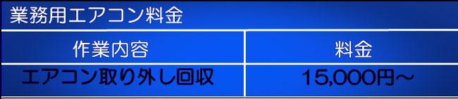 綾瀬市の業務用エアコン取外回収の料金表