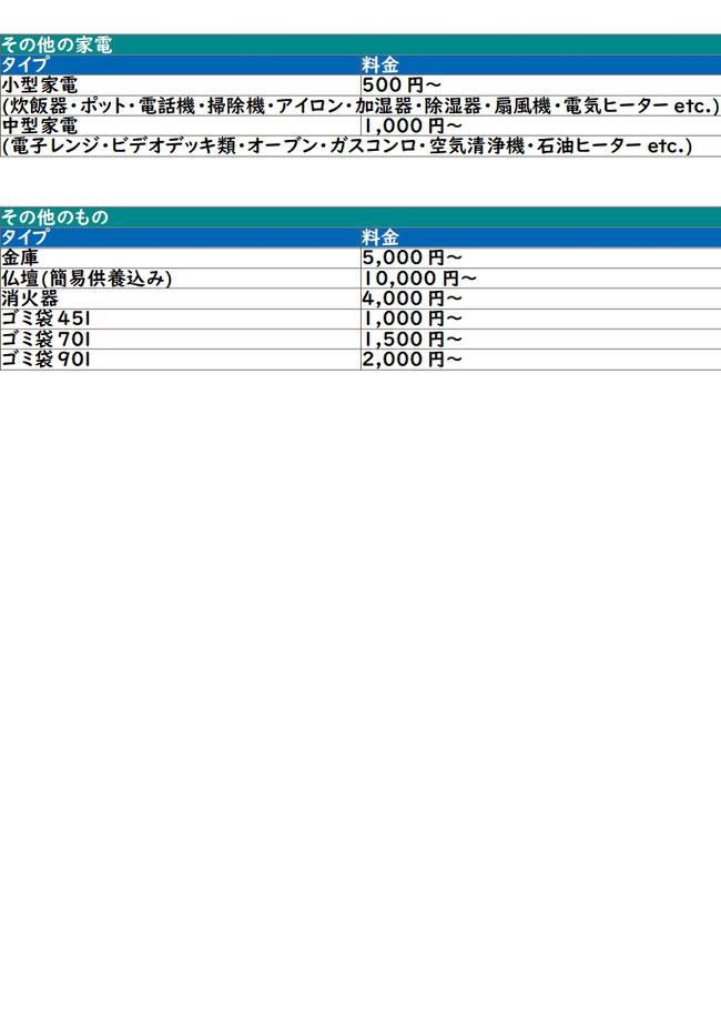 品目別料金表2