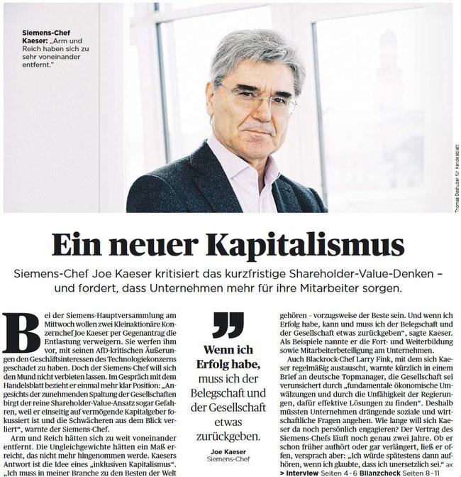 Ein neuer Kapitalismus - Siemens-Chef Joe Kaeser kritisiert... Auszug aus dem Handelsblatt Nr. 20
