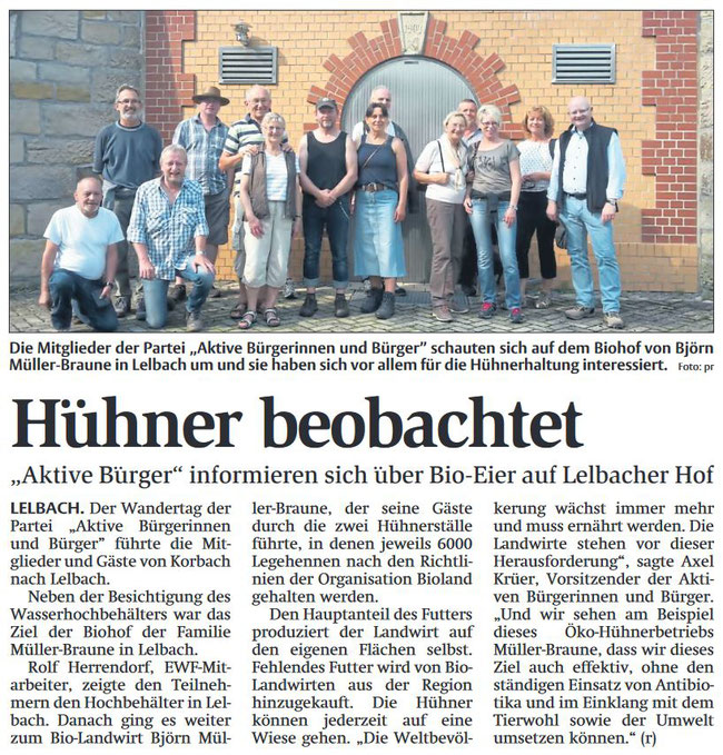Wandertag 2017 der Aktiven Bürder/innen - Bio-Hof Lelbach