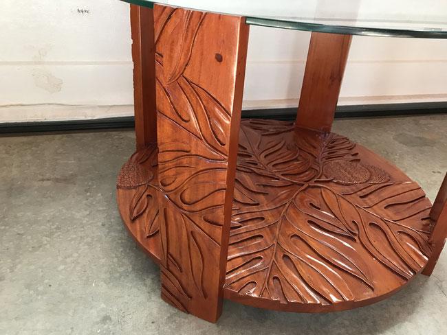マホガニーロイヤルラウンドコーヒーテーブル