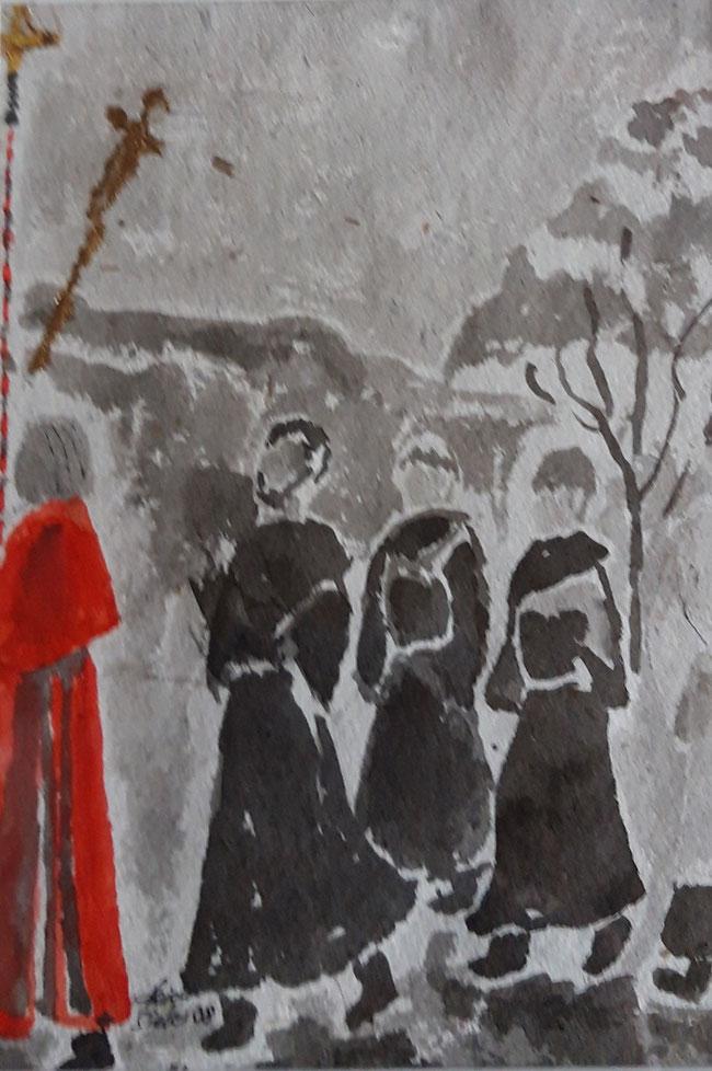 Franziskanerbrüder und Geistliche halten bei jedem Gedenkstein inne.