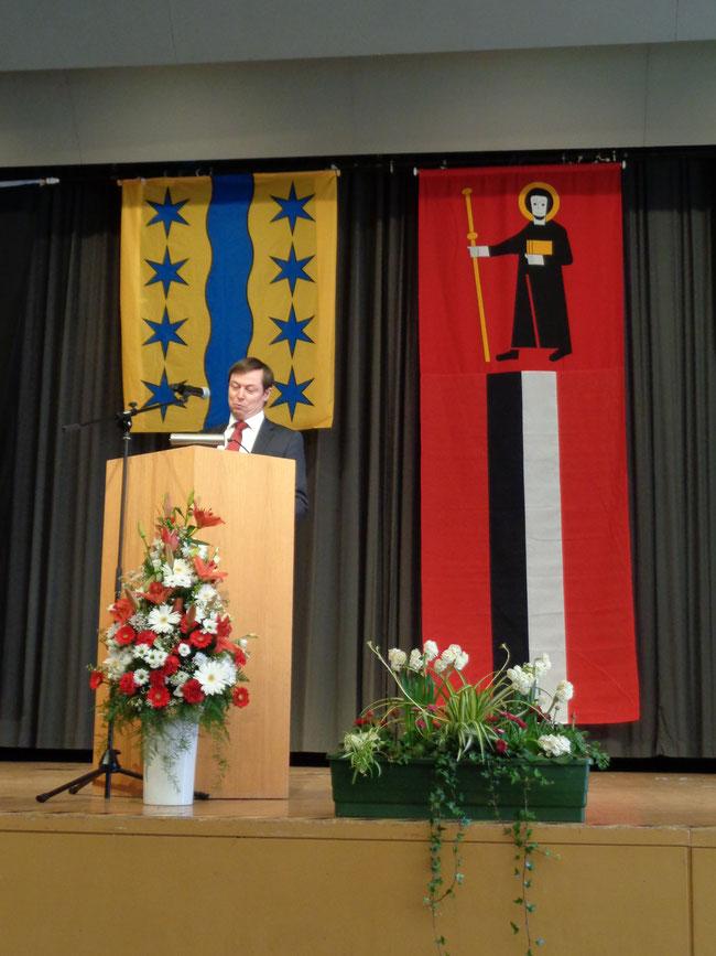 Der (während des Jahres) höchste Glarner hielt im Kursaal Bad Säckingen beim Empfang des Bürgermeisters ein eindrückliche Rede und überbrachte die Grüsse des Landrates des Kantons Glarus. (Foto: M. Hauser, Zug)