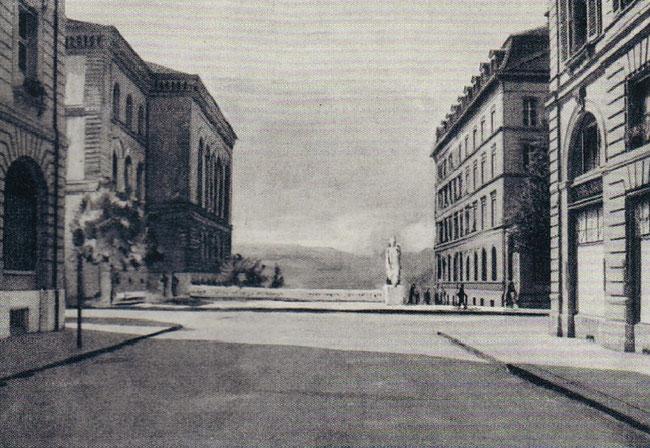 """Die ursprüngliche Idee: Platzierung der Statue vor dem Bundeshaus in Bern. (Foto: aus dem angegebenen Kunstführer """"Sculture..."""")"""